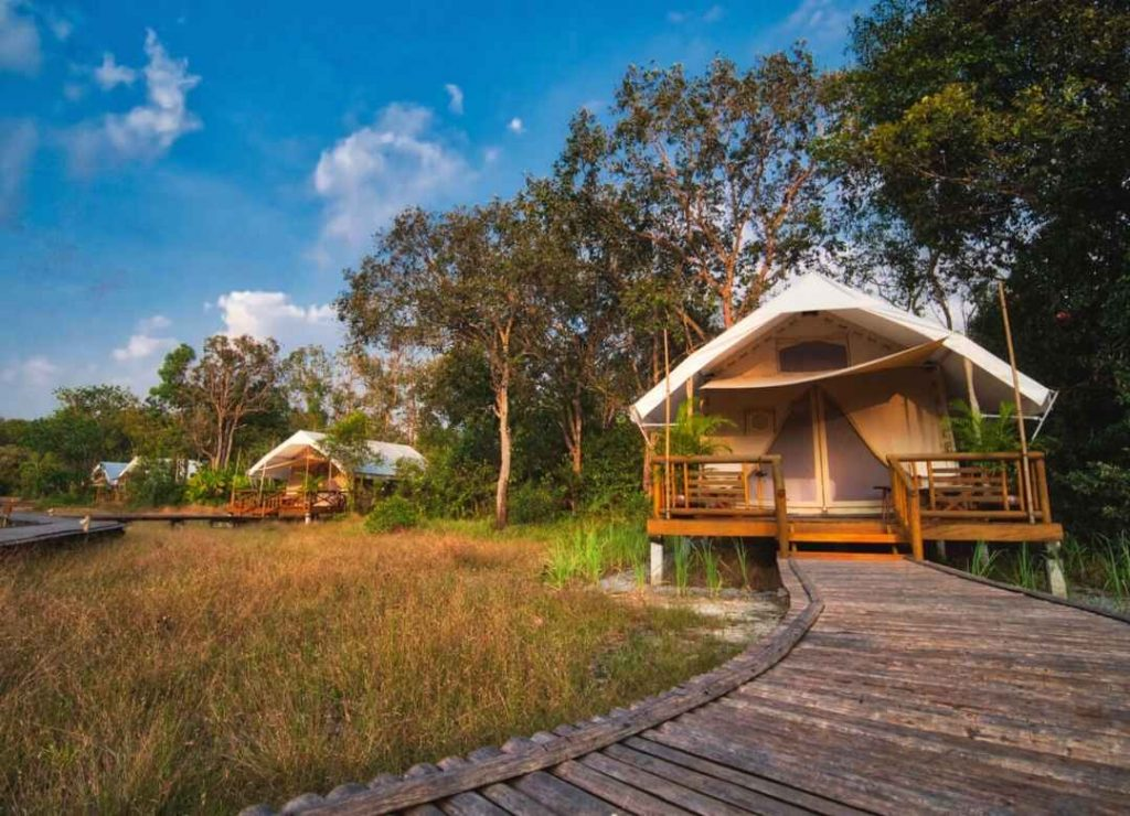 A Cambodian ecolodge has been named one of the top 100 sustainable destinations in the world. Cardamom Tented Camp ecolodge in Cambodia.